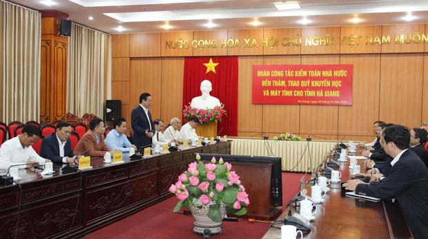 Tổng kiểm toán Nhà nước Hồ Đức Phớc thăm và làm việc tại tỉnh Hà Giang