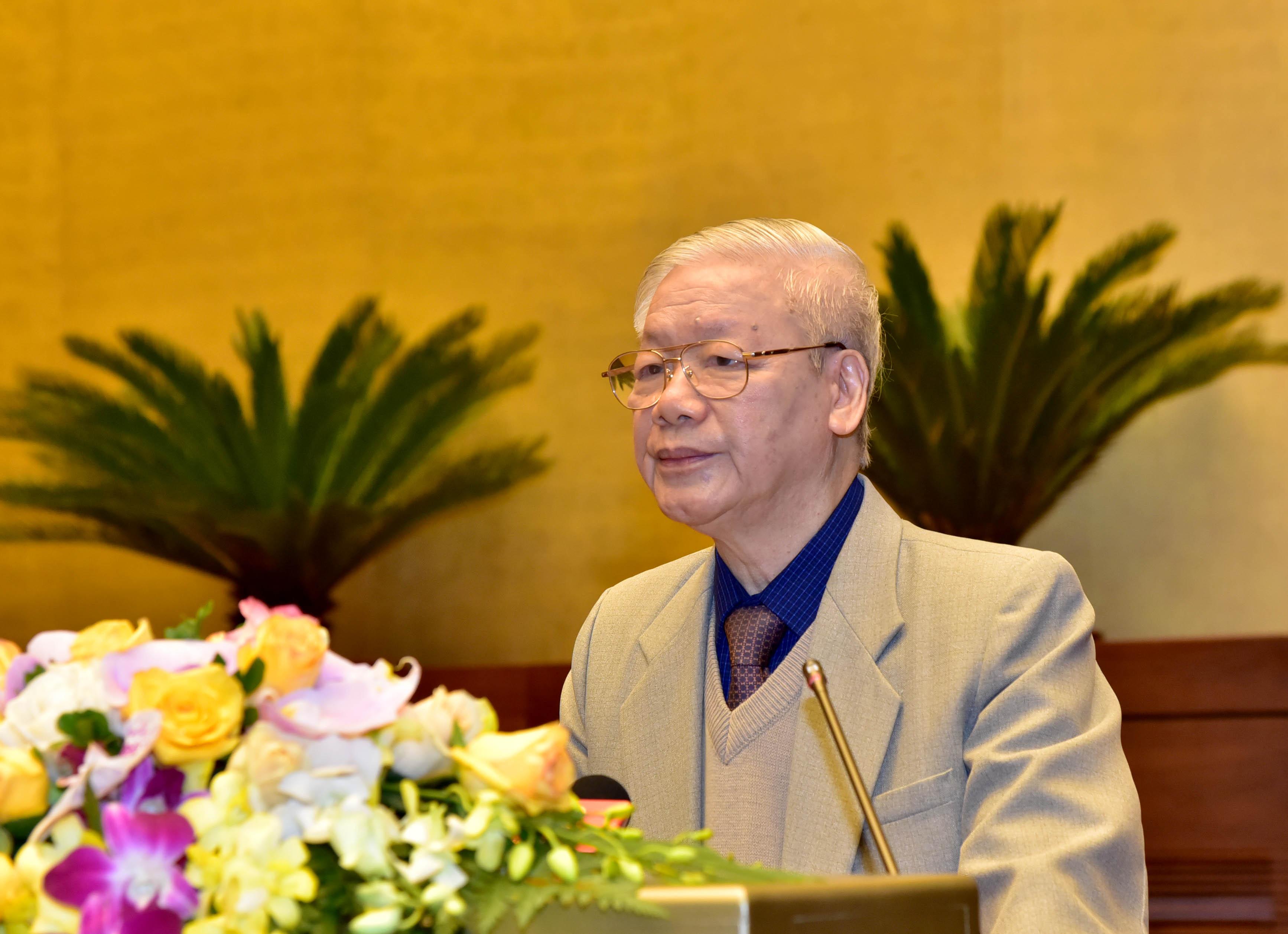 Tổng Bí thư, Chủ tịch Nước Nguyễn Phú Trọng dự, phát biểu chỉ đạo Hội nghị trực tuyến toàn quốc triển khai công tác bầu cử