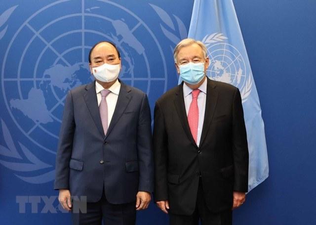 Chủ tịch nước Nguyễn Xuân Phúc hội kiến Chủ tịch Đại hội đồng và Tổng Thư ký Liên Hợp Quốc