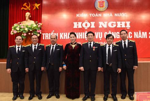 Chủ tịch Quốc hội Nguyễn Thị Kim Ngân dự Hội nghị triển khai nhiệm vụ năm 2018 của Kiểm toán Nhà nước