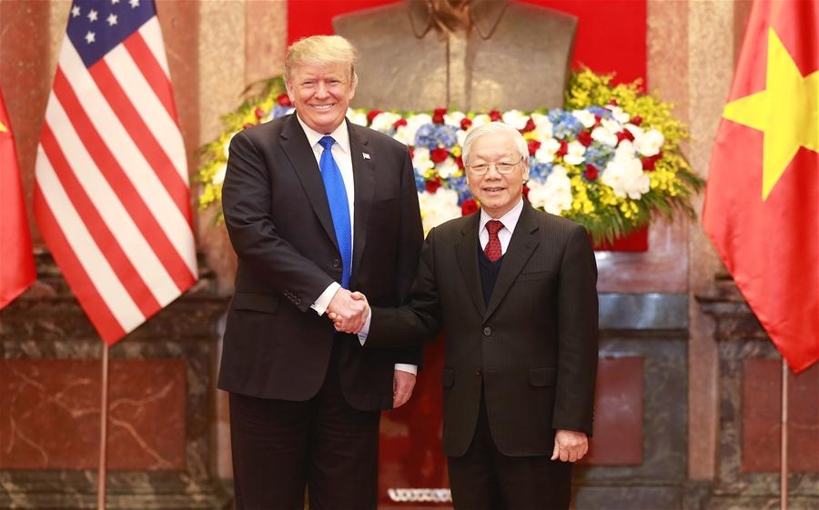 Tổng Bí thư, Chủ tịch nước Nguyễn Phú Trọng, Thủ tướng Chính phủ Nguyễn Xuân Phúc hội kiến Tổng thống Donald Trump