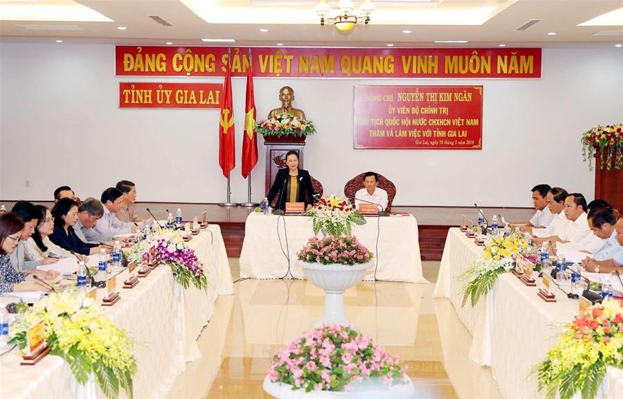 Chủ tịch Quốc hội Nguyễn Thị Kim Ngân làm việc tại tỉnh Gia Lai